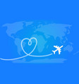 love travel concept airplane leaving behind a vector image vector image