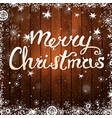 merry christmas card text on wooden background vector image vector image
