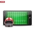Mobile phone with football helmet and field on the vector image vector image