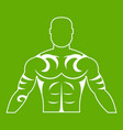 muscular man with tattoo icon green vector image