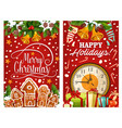 new year clock with xmas gift and cookie card vector image vector image