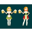 Oktoberfest Girls Female Characters Icons vector image