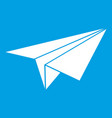 paper plane icon white vector image vector image