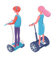 people driving on electric transport segway vector image vector image