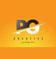 pg p g letter modern logo design with yellow vector image vector image