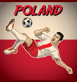 poland soccer player with flag background vector image vector image