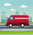 poster city landscape with fast delivery truck of vector image vector image