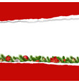red ripped paper with garland vector image vector image