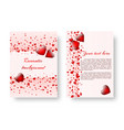 romantic pamphlet with red hearts vector image vector image
