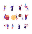 set male and female characters hold different food vector image