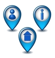 Set of blue map pointer icon vector image vector image