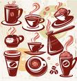 set of coffee symbols vector image