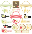set of label fruit vector image