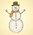 Sketch Christmas snowman in vintage style vector image vector image