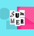 summer banner vintage memphis style vector image