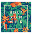 summer hawaiian tropical poster with palm leaves vector image vector image
