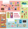 Summer travel and vacation elements vector image vector image
