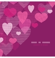 Textured fabric hearts corner frame pattern vector image