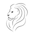 the head of the lion sideways black outline vector image vector image