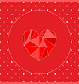 valentines card with triangle heart and white dots vector image vector image