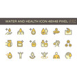 water drinking and health icon set design 48x48 vector image vector image