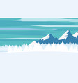 winter landscape cartoon minimal style horizon vector image
