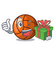 with gift volleyball mascot cartoon style vector image vector image