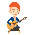 Woman playing acoustic guitar vector image vector image