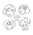 women hand drawn doodles set vector image