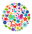 spring love card round label vector image