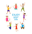 enjoy your life happy children jumping isolated vector image