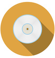 Flat design compact disc icon with long shadow vector image