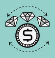 line diamond icon and bitcoin money currency vector image