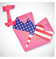 Origami paper I love USA heart card vector image