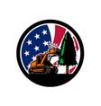 american forestry mulcher usa flag retro vector image vector image