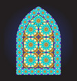 ancient stained glass ornamental window vector image vector image