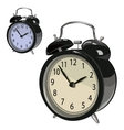 Black classic alarm clock on a white background vector image