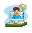 bulb idea to business computer with bills cash vector image