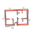 cartoon house plan icon in comic style architect vector image