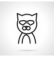 Cat in glasses simple line icon vector image