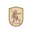 Centurion Roman Soldier Wielding Sword Cartoon vector image vector image