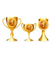 champion golden cups award collection set vector image vector image