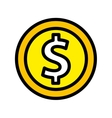 coin money flat line icon vector image