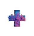 colorful medical cross paper cut flowers and vector image