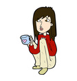comic cartoon woman sitting with cup of coffee vector image vector image