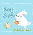 cute easter greeting card with sneaking bunny vector image