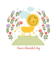 cute lion and flowers vector image