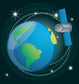 earth planet with technology satellite vector image vector image