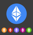 ethereum cryptocurrency icon flat web sign symbol vector image vector image