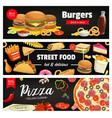 fast food banners cartoon street food meals vector image vector image